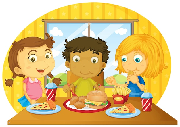 테이블에서 식사를 하는 세 아이