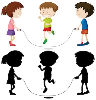 Three kids playing jump rope in color and in outline and silhouette