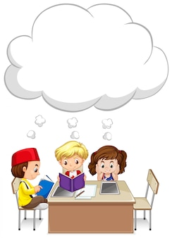 Three kids studying on table