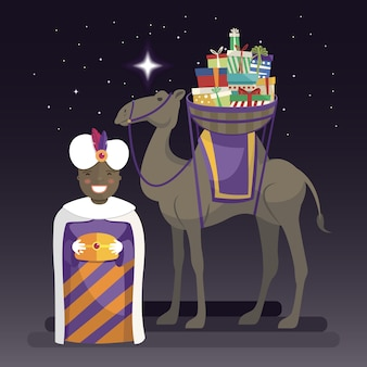 Three kings day with king balthazar, camel and gifts at night