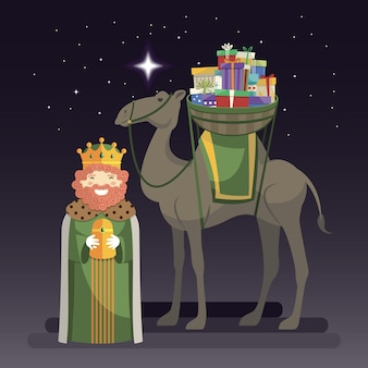 Three kings day with king caspar, camel and gifts at night
