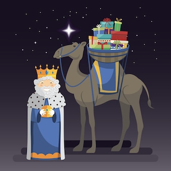 Three kings day with king melchior, camel and gifts at night