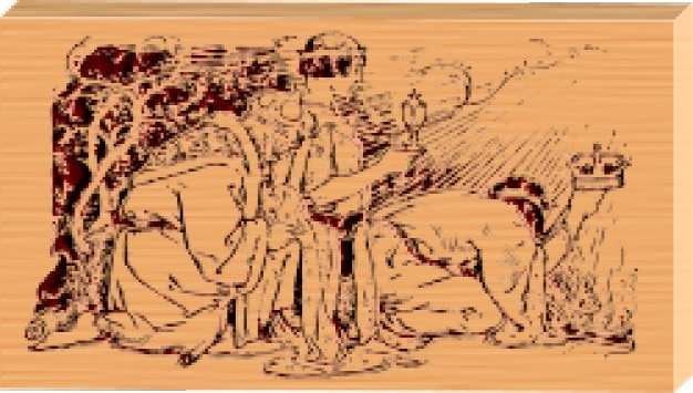 Three kings etched on wood