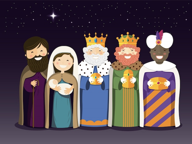 The three kings and holy family on the epiphany day