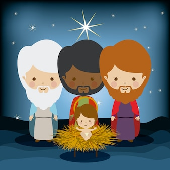 The three kings in manger with jesus, epiphany