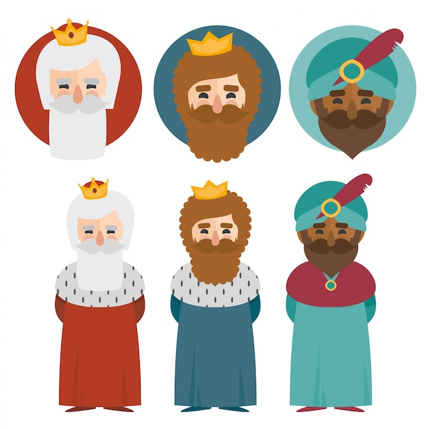 The three kings of orient isolated. 3 magi. icons vector set
