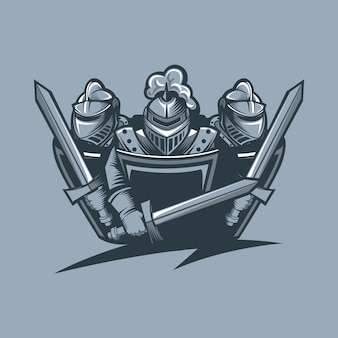 Three knights in armor protect themselves. monochrome tattoo style.