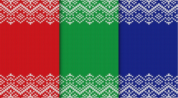 Three knitted christmas backgrounds. set three colors seamless geometric ornament.