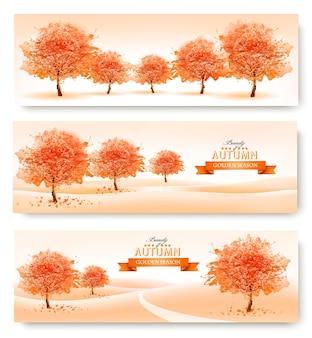 3つの風景秋のバナー。ベクター。
