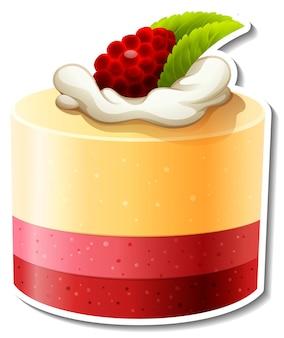 白い背景で隔離のラズベリーステッカーと3層ケーキ