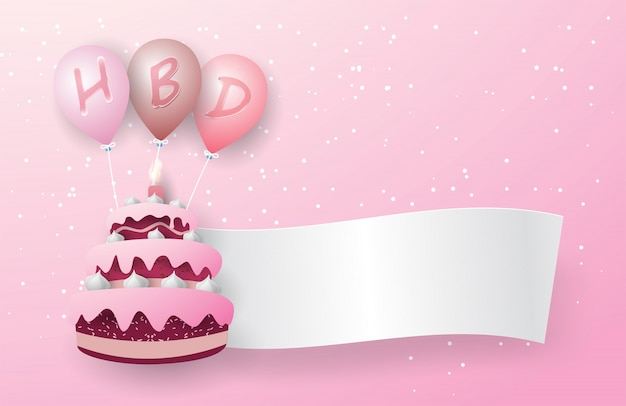 Three-layer pink cake floats with three pink balloons. there is an hbd letter on the balloon and a white background flag floats out of the cake. on the pink background.