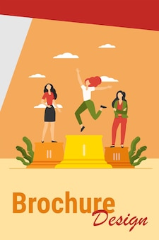 Three leaders standing on podium. winner celebrating success, second and third place flat vector illustration. competition, prize, success concept