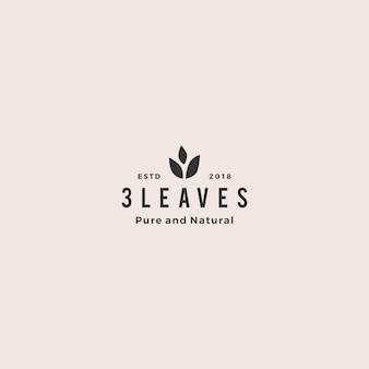 Three leaves leaf logo vector icon design inspiration