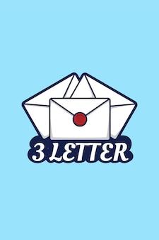 Three letter logo cartoon illustration
