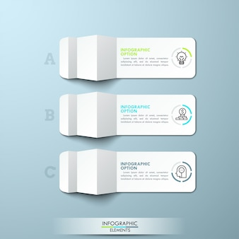 Three lettered pieces of folded white paper with thin line icons and text boxes. minimal infographic  layout.
