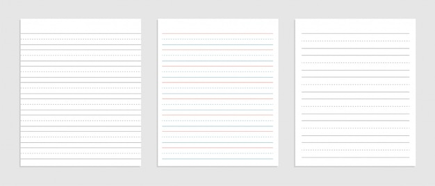 ノートの3行の英語の紙のシート