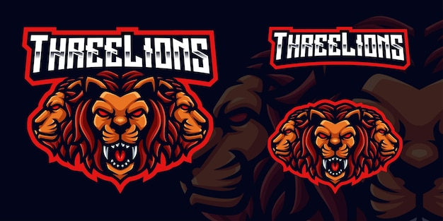 Three lions gaming mascot logo for esports streamer and community