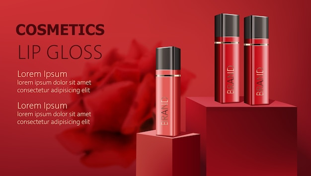 Three lip gloss containers on podiums. realistic. . place for text