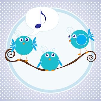 파란색 배경으로 이야기하는 세 개의 작은 새들