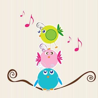 줄무늬 배경 이야기 세 작은 새들