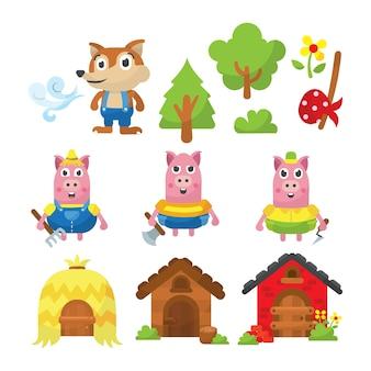 3つの小さな豚の物語の図のイラスト