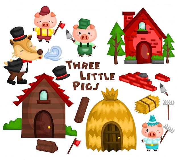 Three little pig vector set