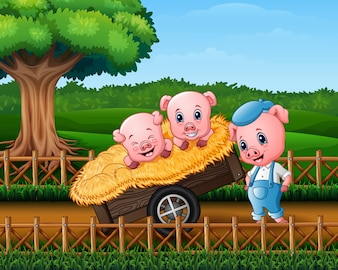 Three little pigs are in the cart