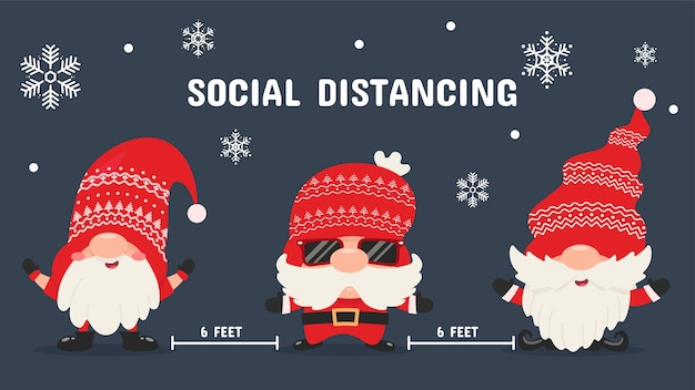 3つの素敵なクリスマスノームが社会的に離れて立っています。クリスマスのコロナウイルス保護のアイデア。