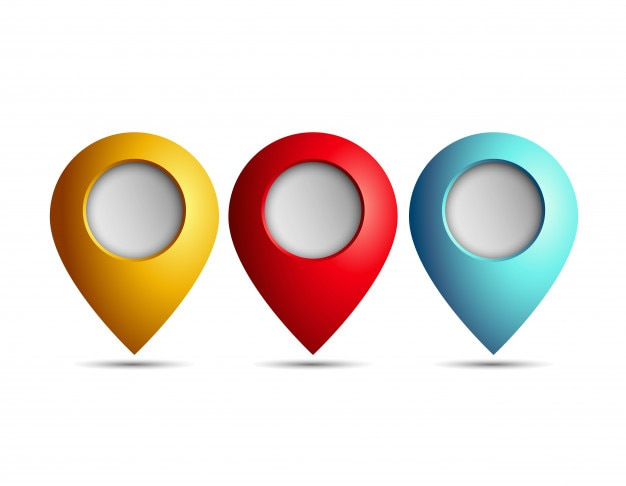 Three map pointer icon