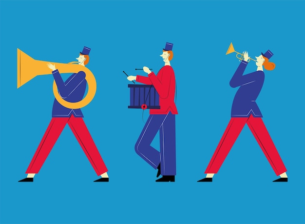 Три марширующих оркестра французских персонажей