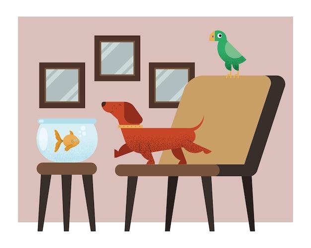 Three mascots in house scene