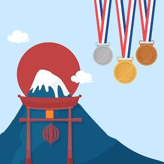 Три медали с горой фодзи, тории и солнцем