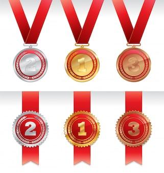 리본이 달린 3 개의 메달-금,은 및 청동