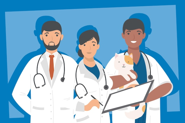 Three medical professionals workers