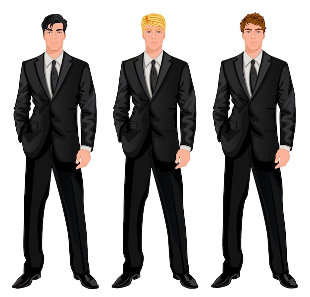 黒のスーツを着た三人の男