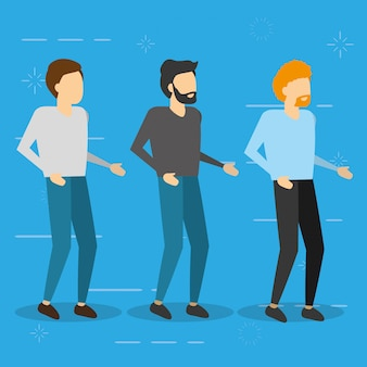 Three men standing, flat illustration