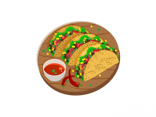 Three mexican tacos on a wooden tray with spicy sauce and chili peppers