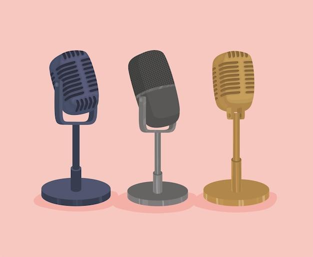 Иллюстрация трех микрофонов