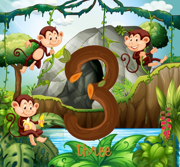Three monkey in the jungle