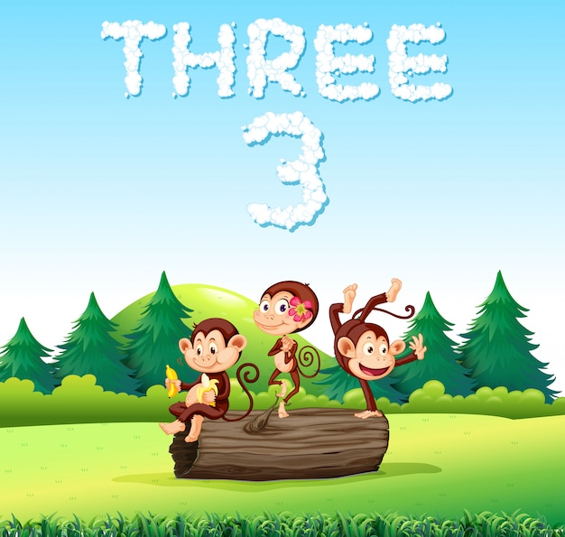 Three monkey in nature