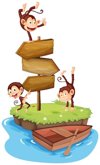 Three monkeys and wooden signs on island