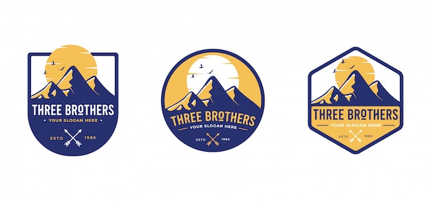 Three mountain badges template