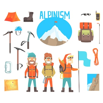 Three mountaineers and mountaineering equipment set of alpinism and alpinist tools   illustrations
