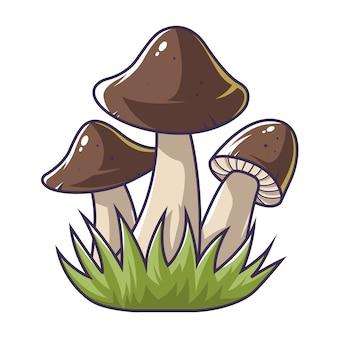 Three mushrooms in the grass.