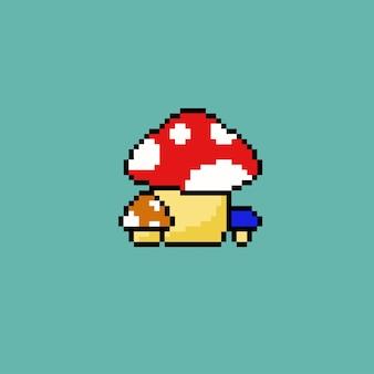 Три гриба в стиле пиксель-арт