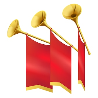 Three musical golden trumpet decorates red flags isolated