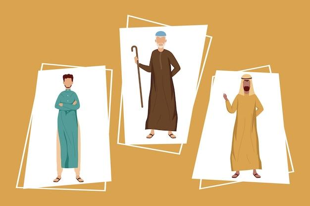 Three muslim community men group