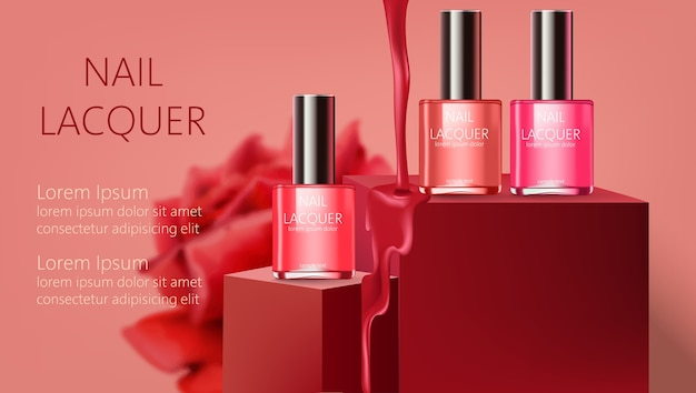 Three nail lacquer containers on podiums with liquid pouring down. realistic. . place for text