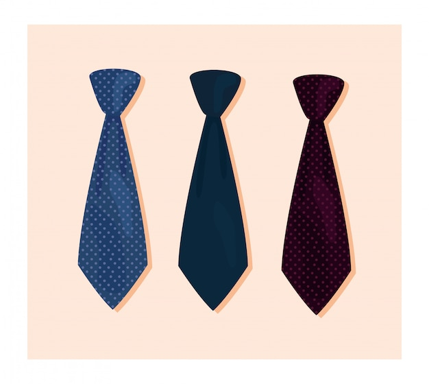 Three necktie accessories ilustration