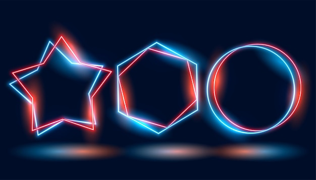 Three neon frames in different geometric shapes